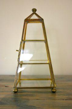 Vintage Paned Glass Curio Tower