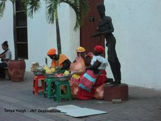 Street sellers in South America, Destinations, Street, Painting, Cartagena Colombia, Painting Art, Travel, Paintings, Painted Canvas