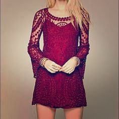 Free People Commemorative Bell Sleeve Dress Maroon long sleeve lace/embroidered dress. It is sheer so you need a slip to go under it! Size small/medium! Never worn out, Great condition! Free People Dresses Long Sleeve