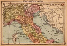 1902 Antique ITALY Map of Italy RARE MINIATURE Gallery Wall Art 2761