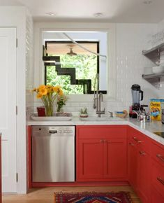 Red cabinets for kitchen redo Orange Cabinets, Red Kitchen Cabinets, Repainting Kitchen Cabinets, Kitchen Cabinet Colors, Kitchen Redo, Kitchen Colors, New Kitchen, Kitchen Remodel, Country Kitchen