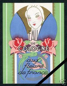 Vintage Perfume Soap Label: French Original Old Antique Art Deco France 1930 LG.