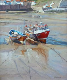 Two Cobles in Staithes Harbor at low tide. (Robert Brindley)