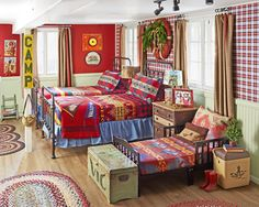 This 86-year-old home can accommodate as many as 10 at a time! Vintage blankets make this bedroom extra cozy.
