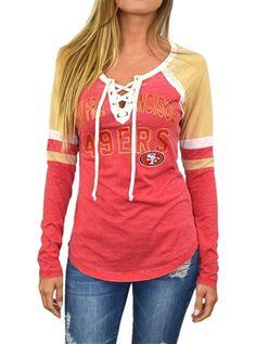 8edf50314 San Francisco 49ers Womens Laceup Long Sleeve Top