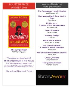 """Help your readers who loved The Sympathizer to find more books to love. LibraryAware's ready-to-go bookmarks make it easy. Search for """"Sympathizer"""" in flyers- books and bookmarks to find them all."""