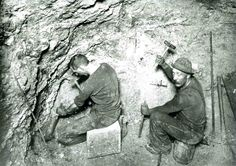 To extract copper ore, miners created small holes in the walls of mines with a hammer and chisel.  Dynamite would then be inserted in these holes on placed on a timed fuse.  This image is from the photograph collection of the Bisbee Mining & Historical Museum.  Discover more Bisbee, Arizona images and artifacts at www.facebook.com/BisbeeMuseum   #bisbee #arizona #bisbeemuseum #mining #mines #copper