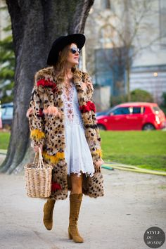 leopard print coat with lace dress and basket bag