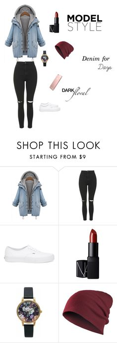 """""""Denim for days"""" by hanwilloughby ❤ liked on Polyvore featuring Topshop, Vans, NARS Cosmetics and Olivia Burton"""
