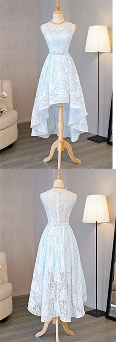 Light Blue Homecoming Dresses,Lace Homecoming Dress,Round Neck Prom Dresses,High Low Homecoming Dresses,Halter Prom Dress, Bow Homecoming Dress,Short Prom Dress