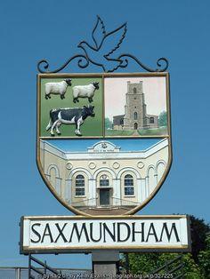 Saxmundham Village Sign in Suffolk, England