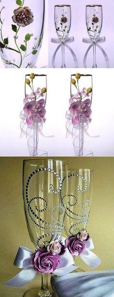 Декор свадебных бокалов. Идеи