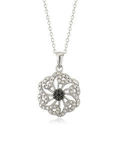 Look at this #zulilyfind! Black & White Diamond Floral Pendant Necklace #zulilyfinds