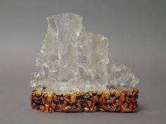 Flower holder with pine and bamboo - 18th century China - rock crystal