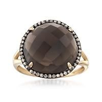 """8.00 Carat Smoky Quartz and .18 ct. t.w. Brown Diamond Ring in 14kt Yellow Gold. Size 6"":… #Jewelry #ClearanceJewelry #DiscountJewelry"