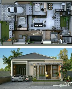 Rumah tipe ukuran tanah blueprint in 2019 house, hou Simple House Design, House Front Design, Minimalist House Design, Minimalist Home, Modern House Design, House Layout Plans, Dream House Plans, Small House Plans, House Layouts
