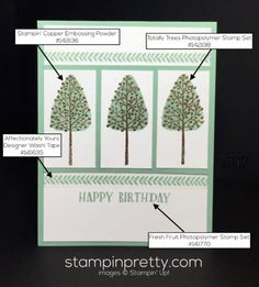 """Totally Trees is your """"go to"""" for fall & autumn card ideas.  Mary Fish, Stampin' Up! Demonstrator.  1000+ StampinUp & SUO card ideas.  Read more http://stampinpretty.com/2016/09/a-coppery-trio-from-totally-trees.html"""