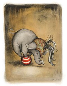 We love the Stella the elephant series from artist Catherine Odell. (I often feel like Stella, trying to find my way and trusting I can stand tall even when I'm wobbly.) :: Stella Finding Balance by CatherineLazarOdell Elephant Love, Elephant Art, Elephant Illustration, Illustration Art, Circo Vintage, Vintage Circus, Copics, Pics Art, Illustrations Posters
