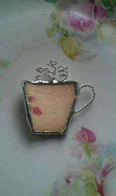 Broken China Coffee Cup Brooch by Mysticglassduo on Etsy, $22.00