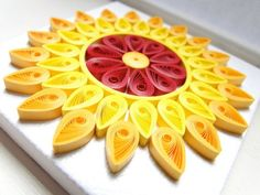 Sun Paper Art / Mini Canvas / Quilling Paper / Home Office Decor / Housewarming Gift / Yellow / Git For Her Paper Quilling Flowers, Paper Quilling Jewelry, Quilled Paper Art, Paper Quilling Designs, Quilling Paper Craft, Quilling Patterns, Quilling Ideas, Mini Canvas, Canvas Size
