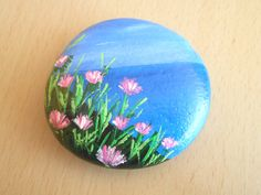 #Stone_painting #wild_flowers #pebble #sea by #GiftsByChrisCrafts