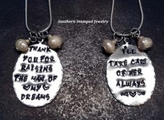 Shop our most popular Thank you for raising the man of my dreams collection by Southern Stamped Jewelry. They make the perfect gift! Grown Up Christmas List, Christmas Gifts, Mother In Law Gifts, Stamped Jewelry, Customized Gifts, Pewter, Drop Earrings, Make It Yourself, How To Make