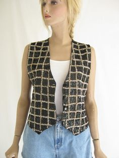 Vintage 80's Sequin Boho Vest. Size Small by TimeBombVintage