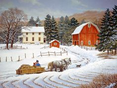 John Sloane, love his work. It's all of days gone by. Being with family always, grandparents are a must, working the farm and praising the Lord. John Sloane's work is so heart warming Country Barns, Country Life, Snow Scenes, Winter Scenes, Country Christmas, Christmas Art, Farm Pictures, Farm Art, Country Scenes