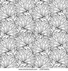 Seamless Monochrome Floral Pattern. Hand Drawn Texture with Flowers