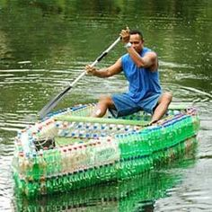 Bottle Boat - The ingenuity of humans never ceases to amaze me. A boat can easily be made from trash, such as water or soda bottles, milk jugs, 5–gallon jugs, etc (just in case I have a few hundred empty soda bottles at my disposal out in the sticks! LOL)