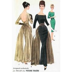 """vintage evening gown patterns,cocktail dress pattern ❤ liked on Polyvore"