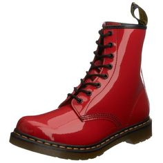 Phashionique Invites You To Buy: Shoes: Dr. Martens Women's 1460 Originals 8 Eye Lace Up Boot Dr. Martens, Dr Martens 1460, Dr Martens Black, Patent Leather Boots, High Shoes, Boots For Sale, Delena, Lace Up Boots, Red Boots