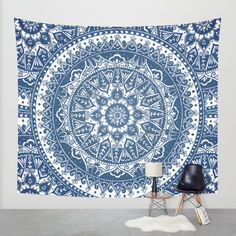 Blue Mandala Pattern Wall Tapestry by Laurel Mae | Society6
