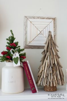 twig or driftwood tree, moss tag, red book vignette via somuchbetterwitha. Recycled Christmas Tree, Driftwood Christmas Tree, Coastal Christmas, Rustic Christmas, Driftwood Projects, Driftwood Art, Diy Projects, Christmas Tree Decorations, Christmas Ornaments