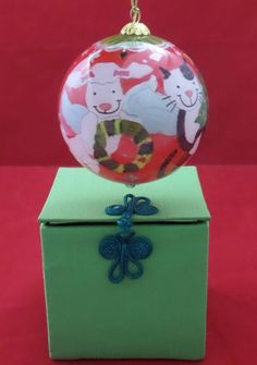 NEW Li Bien Hand Painted Glass Ornament Cats and Dogs Pier 1 with Gift Box