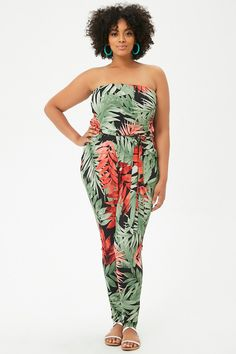 d8bfc5c67c1 Plus Size Multicolor Tropical Leaf-Print Tube Jumpsuit