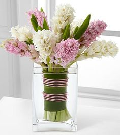 pink and white hyacinth bouquet