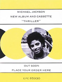 "MICHAEL JACKSON - THRILLER, 1982  Original Epic Records UK advance poster, 20""x15"""
