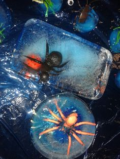 Frozen plastic insects in tuff spot. Children loved trying to free the insects inside!