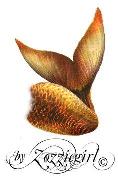 Golden Mermaid tail-png by Zozziegirl on deviantART