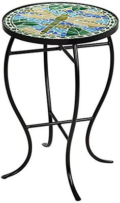 """Dragonfly Mosaic Black Iron Outdoor Accent Table - This round outdoor accent table features an inlaid tile top featuring a colorful dragonfly mosaic. The frame and curvaceous legs are constructed of black finish iron that will withstand the elements. A great way to add fresh style and function to your porch or deck.- 21"""" high x 14"""" wide..."""