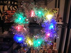 12in Christmas Wreath with bulb lights.