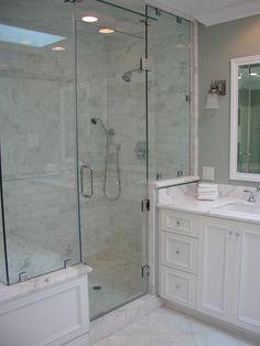 STEAM SHOWER DESIGN | Steam Shower Design | Decorating Bath.  I like the wood detail on theoutside of shower.
