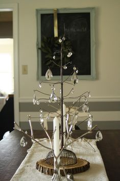 Primitive & Proper: Christmas in the Dining Room; vintage wire tree with chandelier crystals