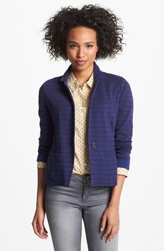 Caslon® Cotton Knit Blazer (Petite) available at #Nordstrom