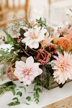 Autumn centerpiece in a wooden box. Grown and designed by Love 'n Fresh Flowers.  Photo by Maria Mack Photography.