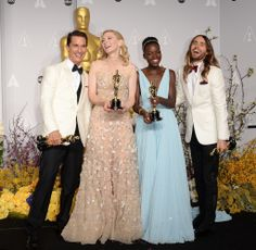 Oscars 2014 -- winners Matthew McConaughey, Cate Blanchett, Lupita Nyong'o, and Jared Leto posing with their statues