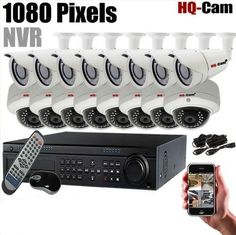 HQ-Cam 16-Ch 1080 Mega Pixels NVR DVR Security Surveillance Camera system with 8x Bullet & 8x Dome IP IR 1080P Weatherproof Security Camera For CCTV Day and night Home Security 2 TB HDD Pre-installed by Q1C1. $7135.99. Package Included: 1 x 16 CH Real Time1080P/D1 Display/Recording Security DVR 8 x IP IR 1080P Weatherproof Security Bullet Camera 8 x IP IR 1080P Weatherproof Security Dome Camera 2 x 12V/5000Amp Power adapter 2 x 1-4 Splitter Cable for Cameras 1 x Power suply for...