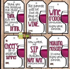 6 WINE FAVOR Gift Tags Teacher Appreciation by PartyOwlTheTime