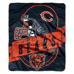 Chicago Bears NFL Royal Plush Raschel Blanket (Grand Stand Raschel) (50in x 60in)